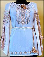 """Вишиванка жіноча  """"Фантазія"""" на білому шифоні, блуза вишита чорними та жовто-золотими нитками, машинна вишивка"""