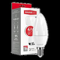 LED лампа MAXUS C37 CL-F 4W мягкий свет 220V E14 (NEW)