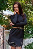 Стильное короткое платье с пояском и разрезами по бокам