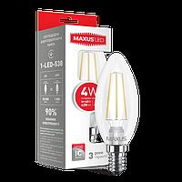 LED лампа MAXUS (филамент) C37 4W яргкий свет E14 (NEW)