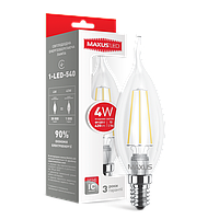 LED лампа MAXUS (филамент) C37 TL 4W яркий свет E14 (NEW)