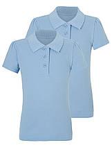 Школьное поло голубое с коротким рукавом на девочку 5-6-7-8-9-10 лет George (Англия)