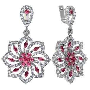Серьги серебряные Элитные Цветки 110905