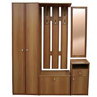 Прихожая стенка ольха со шкафчиком, тумбой, зеркалом и крючками для вещей