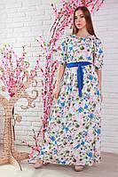 """Летнее красивое нежное платье длиной в пол с вырезом """"Анжелика"""""""