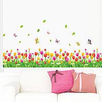 Наклейка виниловая Изгородь (тюльпаны) 3D декор