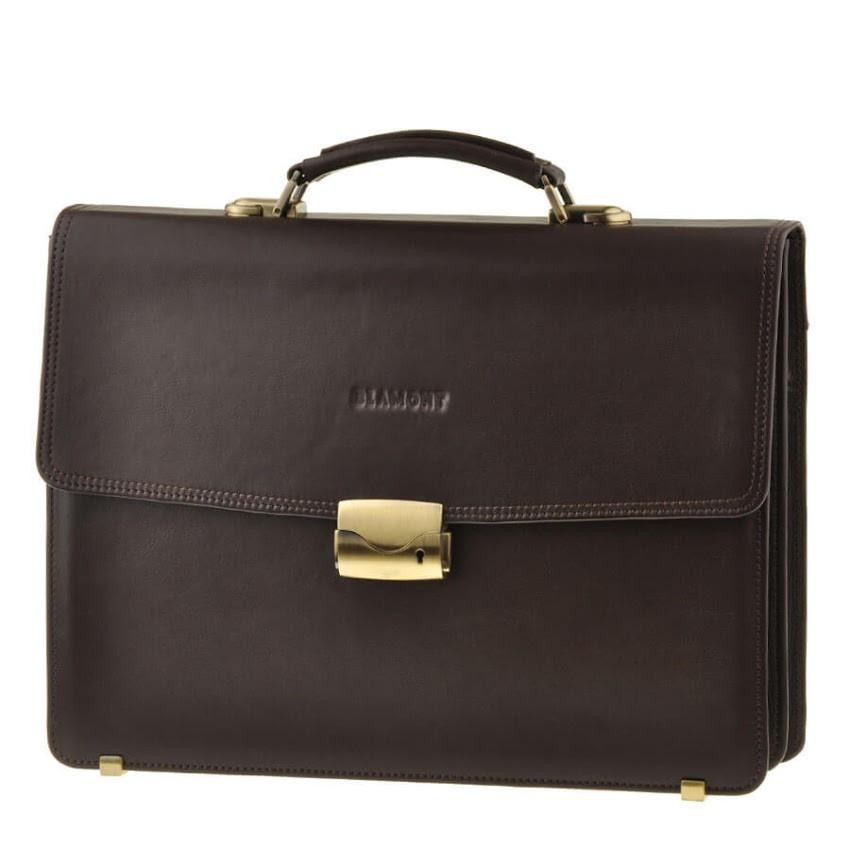 Кожаный мужской портфель BLAMONT Bn062 коричневый