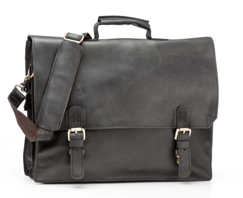 Кожаный мужской портфель TIDING BAG GА2095 черный