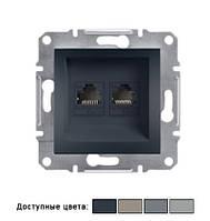 Розетка Schneider Electric Asfora компьютерная двойная LAN 2хRJ45, IP20, без рамки