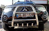 Защита переднего бампера кенгурятник высокий без надписи (нерж.) D60 на Mitsubishi L200 2012+