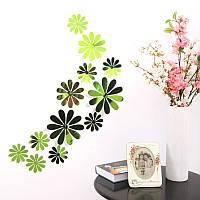 Цветы 3D декор зеркальные  (зелёные)