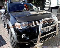 Защита переднего бампера кенгурятник высокий без надписи (нерж.) D70 на Mitsubishi L200 2012+