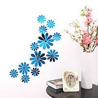 Цветы 3D декор зеркальные  (голубые)
