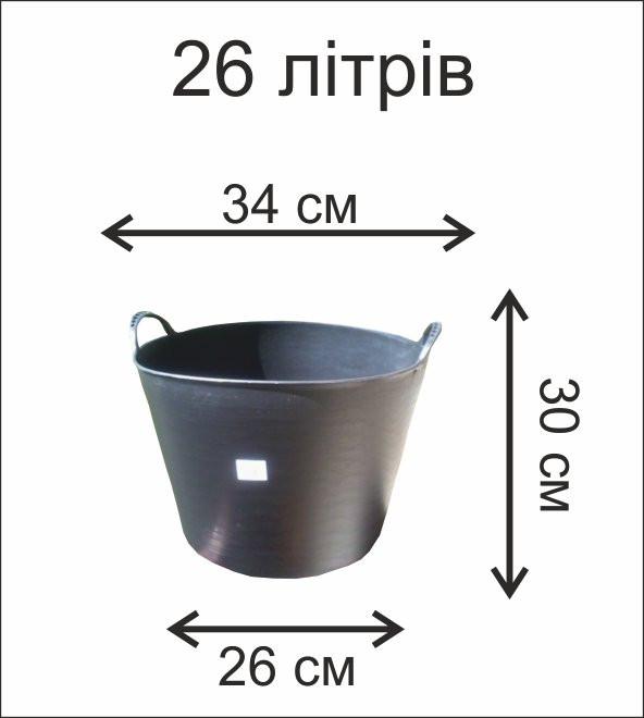 Черная корзина 26л