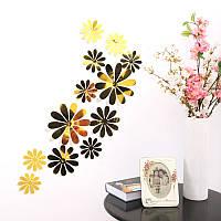 Цветы 3D декор зеркальные  (золотистые)