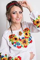 Красивая женская вишиванка с подсолнухами соняшниками , фото 1