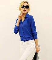 Блузка рубашка женская Синяя
