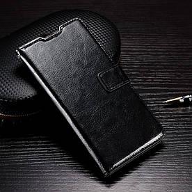 Чехол книжка для Samsung Galaxy A3 2016 SM-A310 боковой с отсеком для визиток Гладкая кожа, Черный