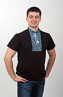 Вышитая футболка мужская, чёрно-голубая вышивка