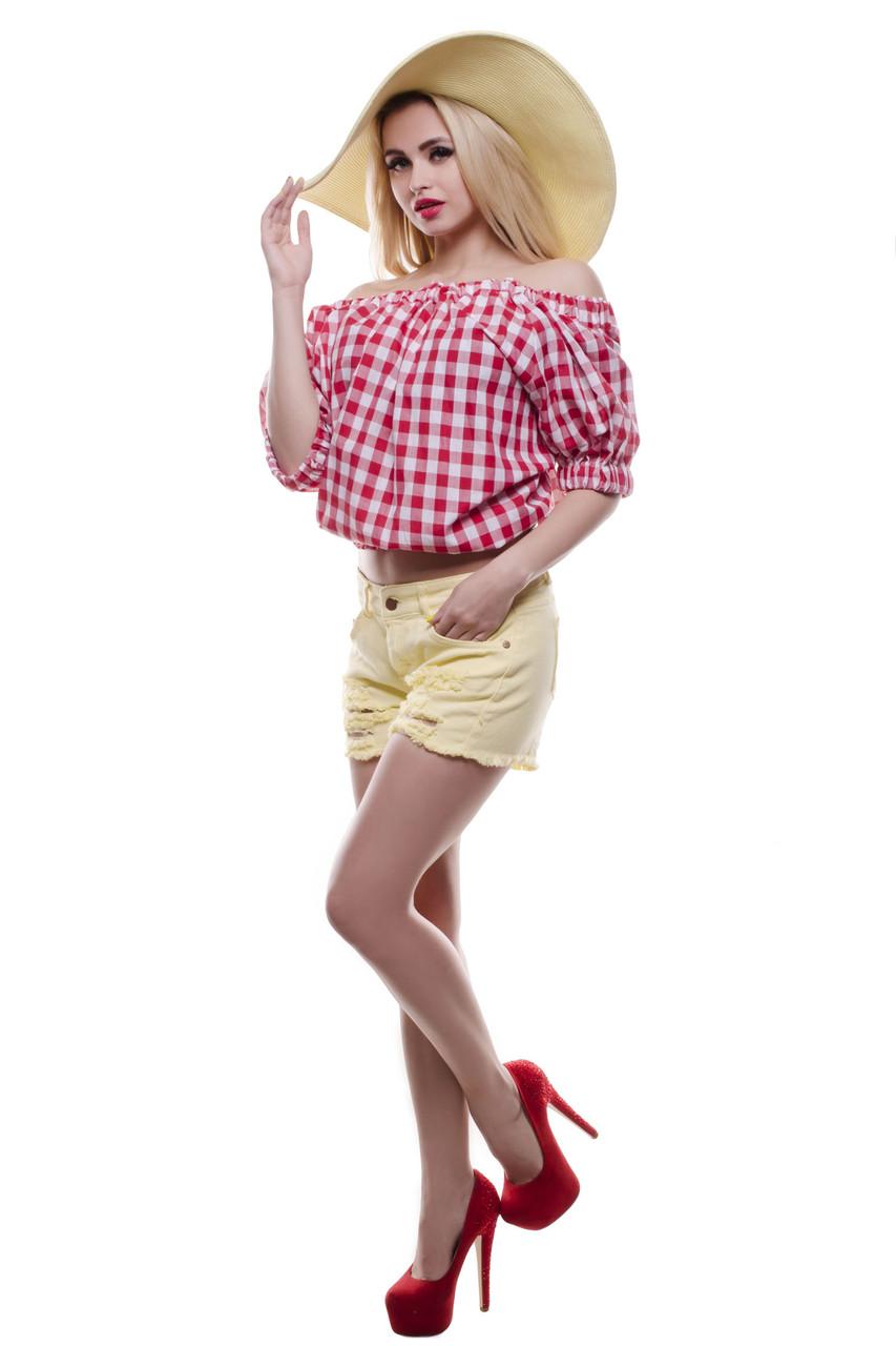 Клетчатая блуза с открытыми плечами ( красная и чёрная)