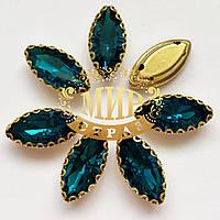 Стразы Blue Zircon в  ажурной золотой оправе Маркизы Размер 7х15мм