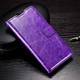 Чехол книжка для Samsung Galaxy A3 2016 SM-A310 боковой с отсеком для визиток Гладкая кожа, Фиолетовый