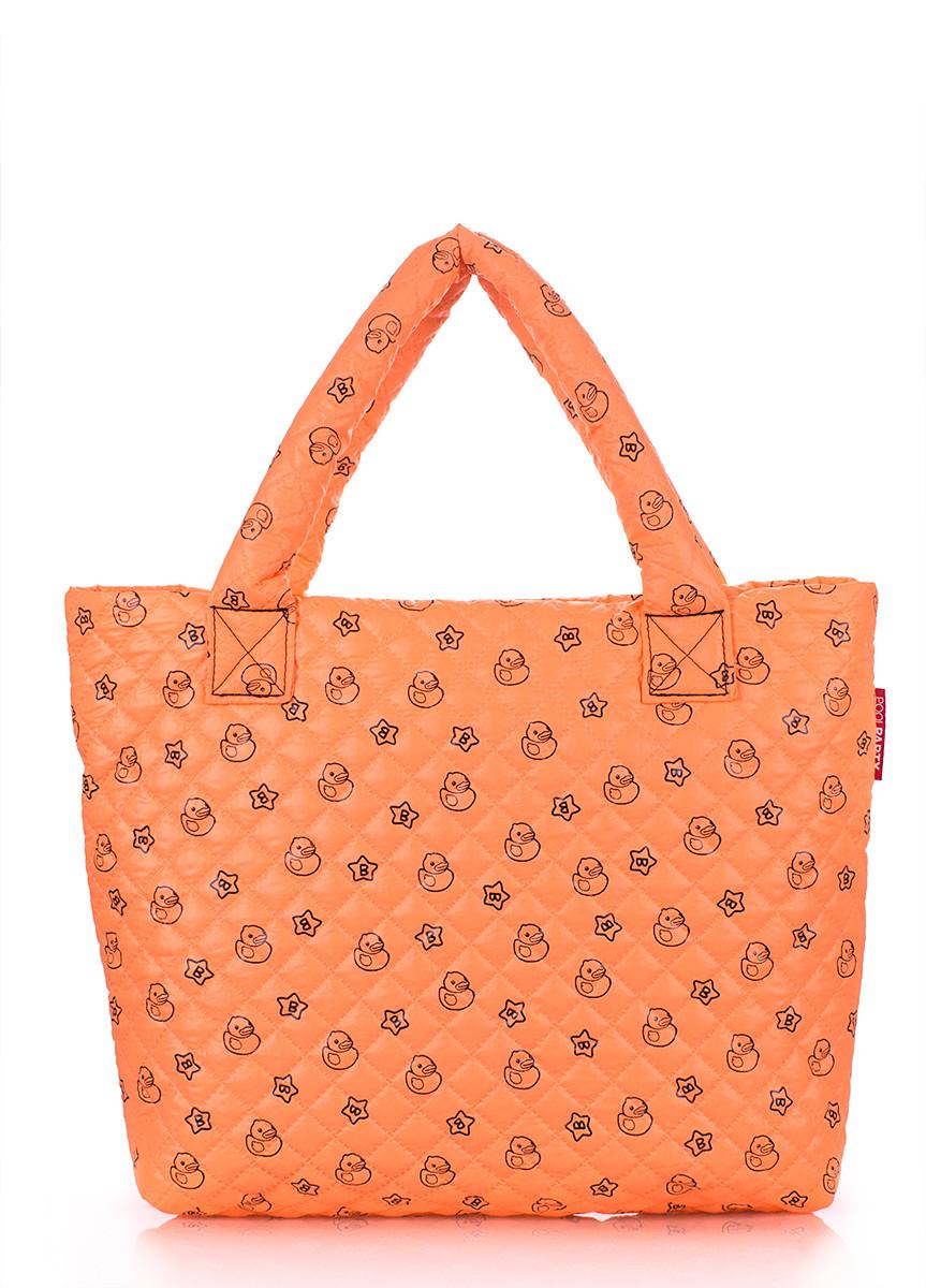 Дутая сумка POOLPARTY оранжевая с принтом
