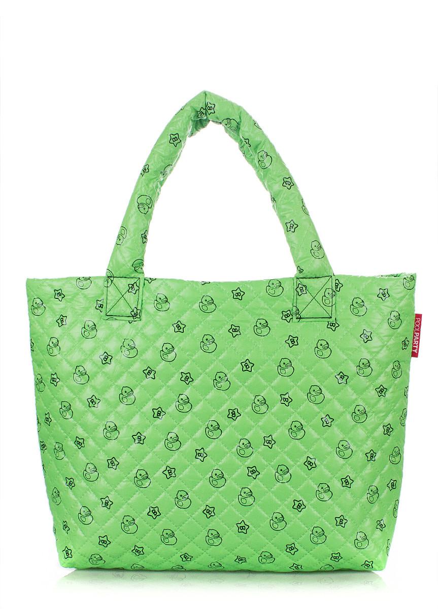 Дутая сумка POOLPARTY зеленая с принтом