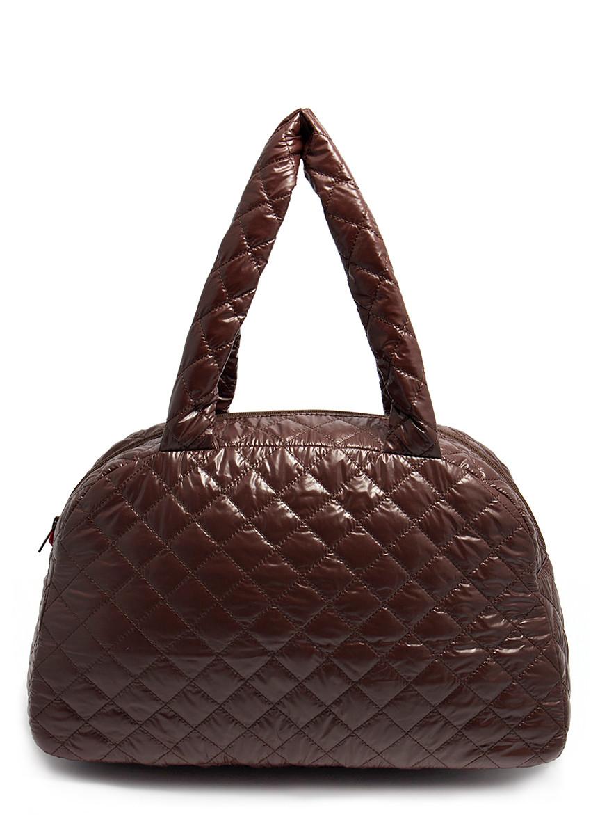 Женская стеганая женская сумка из ткани коричневая