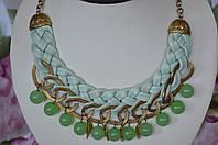 """Кожаное ожерелье с хризопразом """"Нефертити"""""""