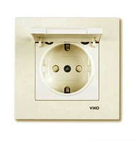 Розетка электрическая VI-KO Karre скрытой установки одинарная с заземлением с крышкой (кремовая)