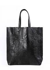 """Кожаная женская сумка POOLPARTY City """"крокко"""" черная"""