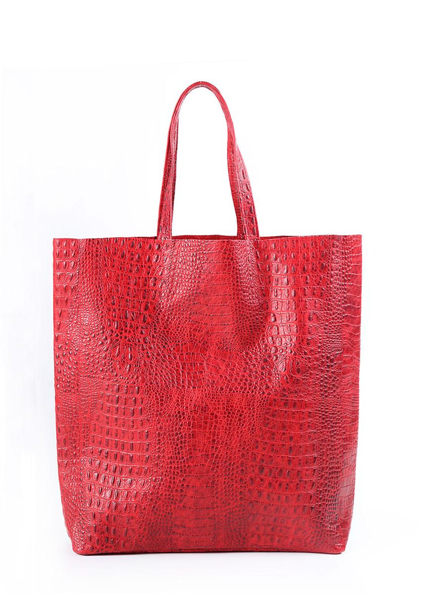 """Кожаная женская сумка POOLPARTY City """"крокко"""" красная"""