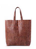 """Кожаная женская сумка POOLPARTY City """"крокко"""" коричневая"""