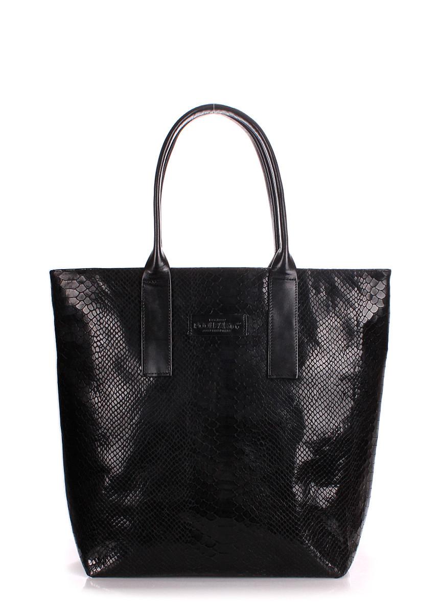 Кожаная женская сумка POOLPARTY Adore черная