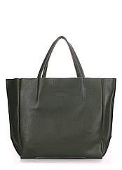 Кожаная женская сумка POOLPARTY Soho хаки