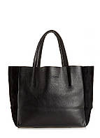 Кожаная женская сумка POOLPARTY Soho черная замш