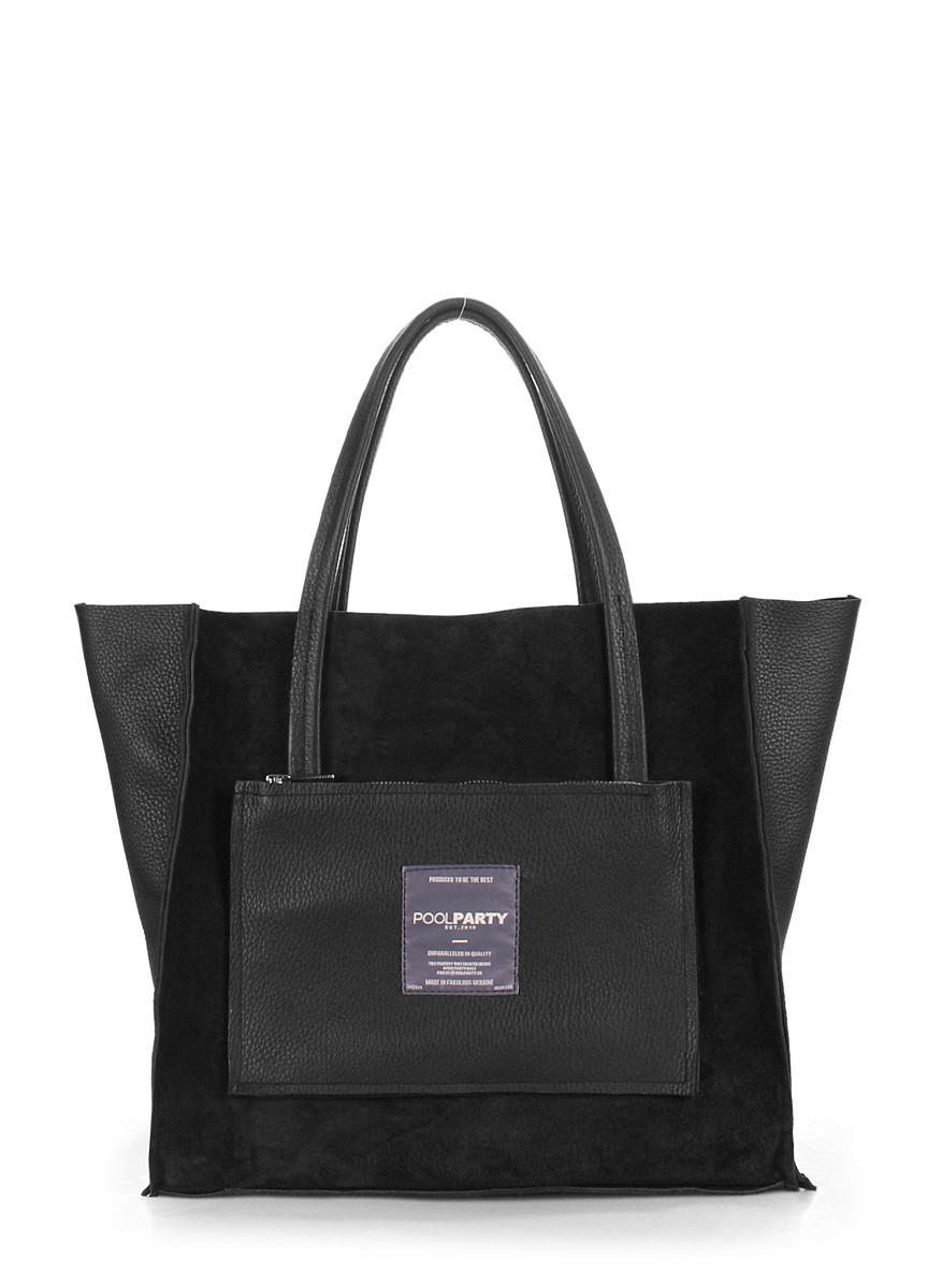 Кожаная сумка POOLPARTY Soho двусторонняя черная
