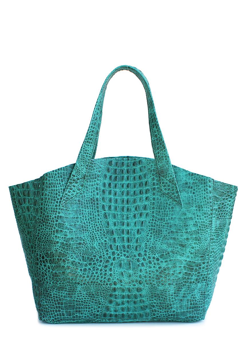 Кожаная женская сумка POOLPARTY Fiore зеленая