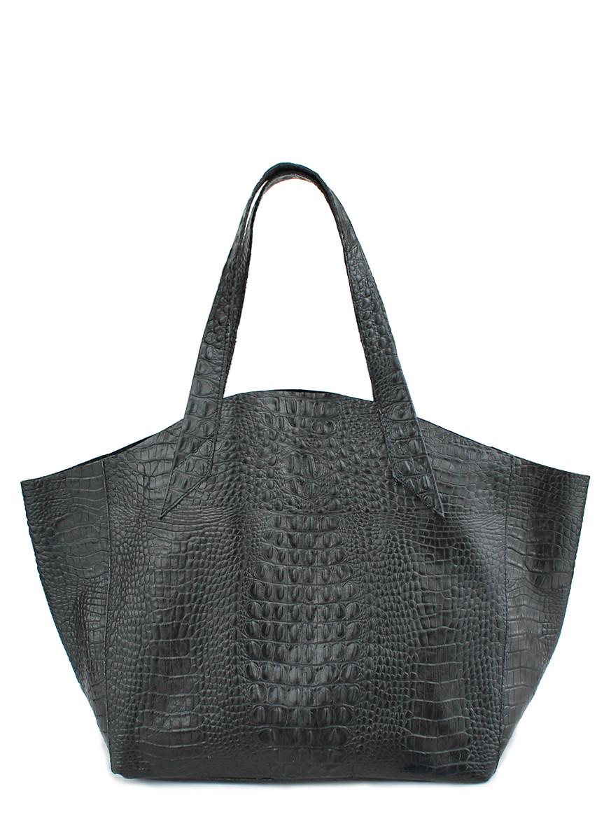 Шкіряна жіноча сумка POOLPARTY Fiore чорна