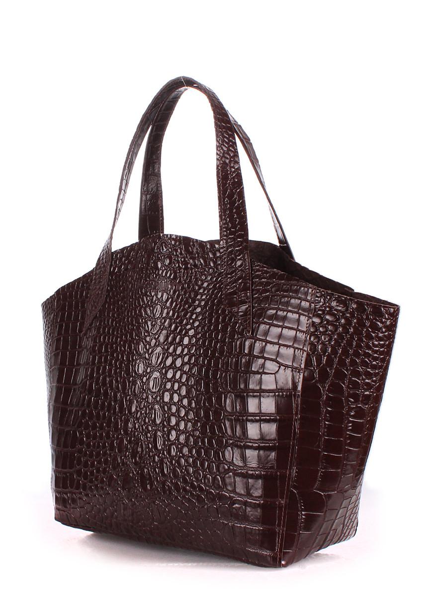 Шкіряна жіноча сумка POOLPARTY Fiore шоколадна