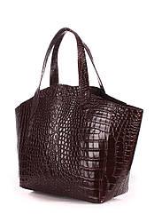 Кожаная женская сумка POOLPARTY Fiore шоколадная