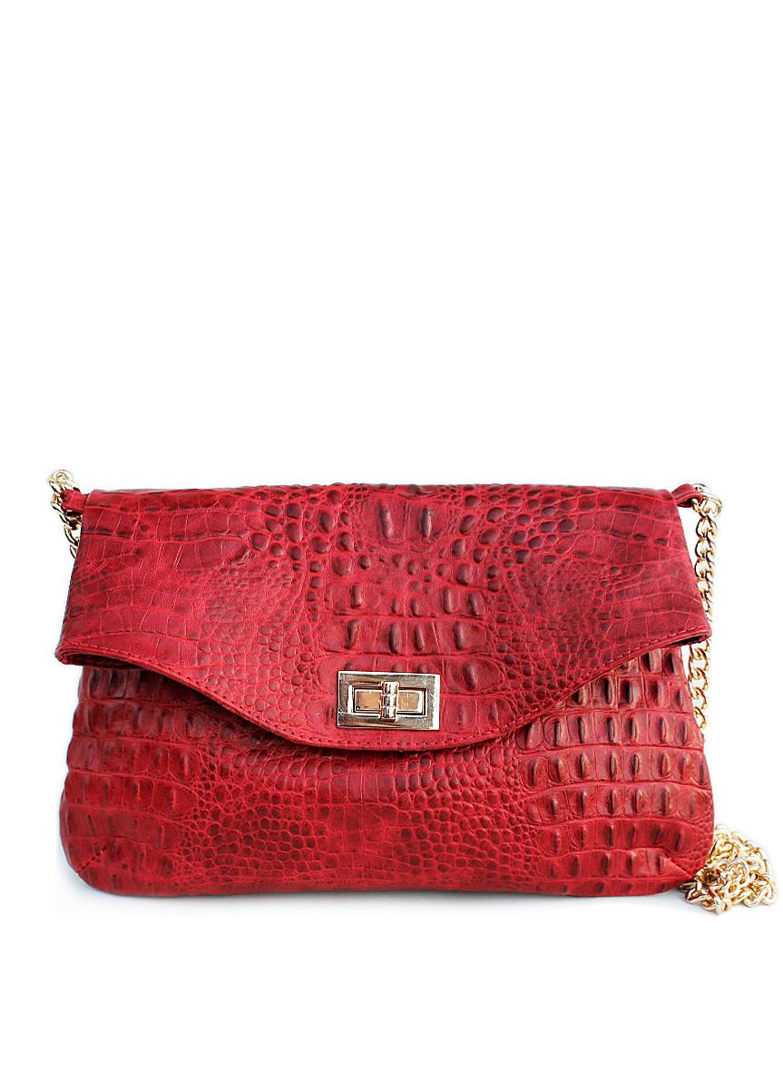Шкіряна сумочка-клатч POOLPARTY з ланцюжком червона