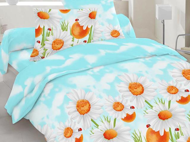 Двуспальный комплект постельного белья голубой