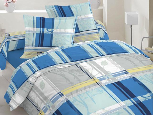 Двуспальный комплект постельного белья синий