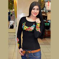 Женская вышитая футболка с длинным рукавом