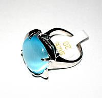 """Перстень """"Цветок"""" с голубым кошачьим глазом"""