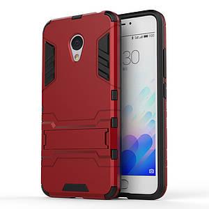 Чехол накладка для Meizu M3 Note / Blue Charm Note3 противоударный Alien с подставкой, Красный