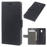 Чехол книжка для Meizu M3 mini / Blue Charm 3 боковой с отсеком для визиток и отверстием под динамик, Черный