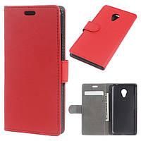 Чехол книжка для Meizu M3 mini / Blue Charm 3 боковой с отсеком для визиток и отверстием под динамик, красный